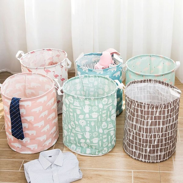18 Design Linen Cartoon Design Toy Storage Baskets Kids Room Organizer Folding Bags INS Storage Basket Bucket Clothing Organizer Laundry Bag