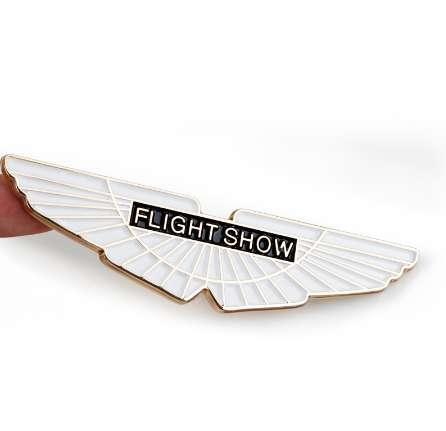 New Gold Flight Show Wings Metal Car Styling Emblem Badge 3D Sticker Auto Cool Exterior Trunk Logo for Refitting Aston Martin