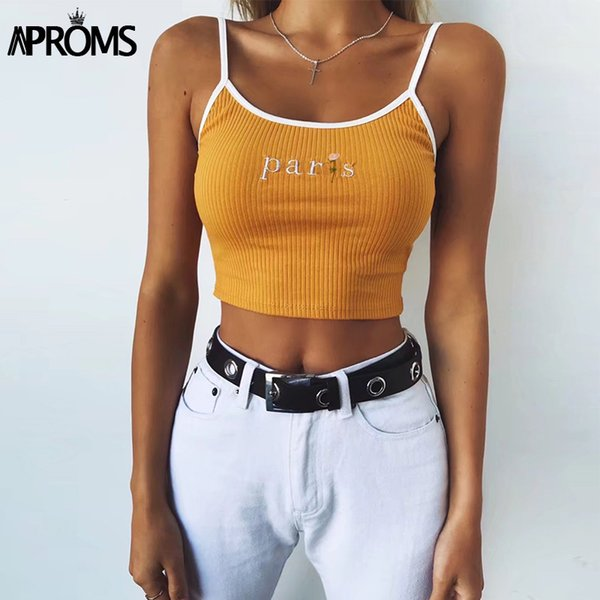 Aproms White Paris Floral Embroidery Camis Women Fashion 2018 Cool Girls Basic Tank Tops Sexy Ribbed Tees Cropped Bustier Tops
