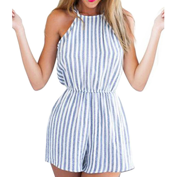 Sexy Halter Backless Playsuits Jumpsuits Strip Women Clothing Bodycon Party Clubwear Romper Asian Size S-XL