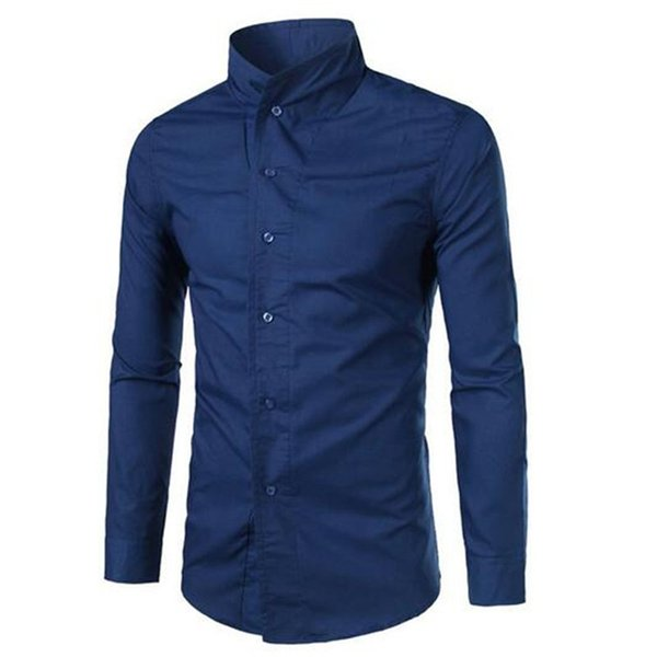 Gentleman Stand Collar Shirts Male Chinese Style Slim Blouse Long Sleeve Matureman Office Clothing Solid Color Men Dinner Shirt
