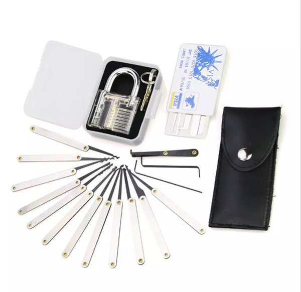 Hot Transparent Practice 7 pin Lock Padlock + 12pcs/set Lock picks Tools locksmith + 5pcs credit card lock pick set