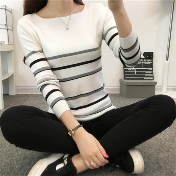 2018 La caída del nuevo suéter a rayas mujer camisa de manga larga  estudiantes coreanas una 10671c1e0be9b