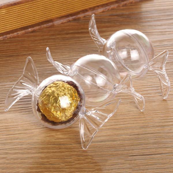 12pcs / lot Bonbons Forme de mariage Bonbonnière chocolat transparent en plastique de stockage de conteneurs Boîtes d'enfants Collection cadeaux Organisateur
