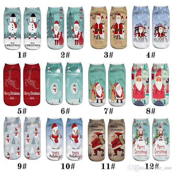 12 Styles Fashion cute New 3D Printed Pattern Santa Claus Emoticons Men and Women Soft Texture Socks Christmas Decorations Socks
