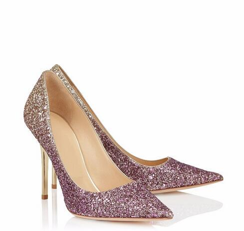 Bling Sequins Bridal Wedding Shoes Sexy Pointed Toe Thin Heels Women Pumps Celebrity Style High Heels Women Shoes