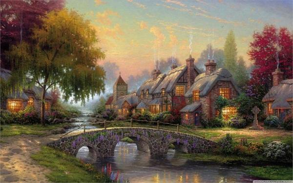 Beautiful classic cobblestone bridge by thomas kinkade Handmade & HD Print Oil Painting High Quality Canvas Home Decor Frame Options l177