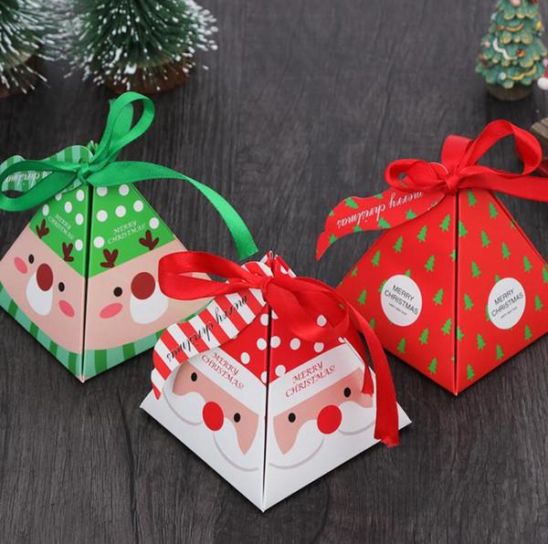 Merry Christmas Şeker Kutusu kurabiye Çanta Noel Ağacı Hediye Kutusu Bells Kağıt Konteyner Malzemeleri Ile SN2057