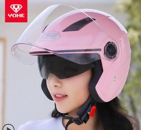 YOHE YH-837-R helmet electric motorcycle helmet car four seasons men and women half summer sunscreen double lens