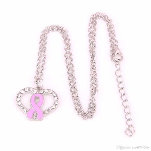 Health Alert jewelry Breast Cancer Awareness Pink Enamel Ribbon Bow Crystal Heart Charm Pendent Necklace Jewelry