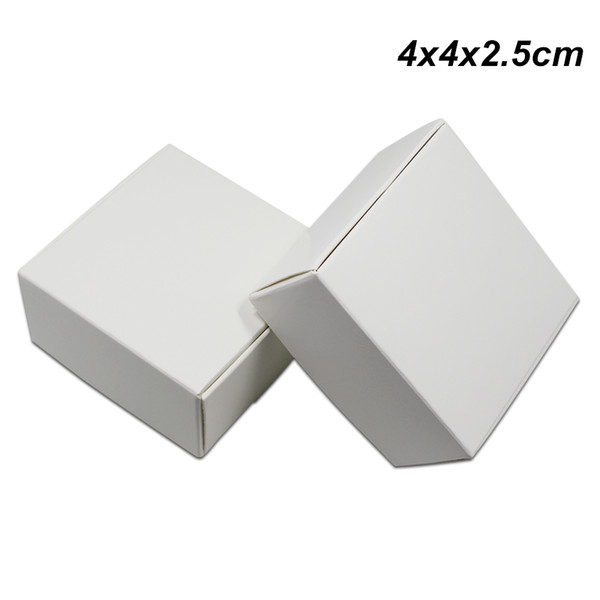 4x4x2.5cm 100 Pcs White Kraft Paper Gift Box for Wedding Gift Boxes Handmade Soap Jewelry Box Baking Cookies Chocolate Package Packing Boxes