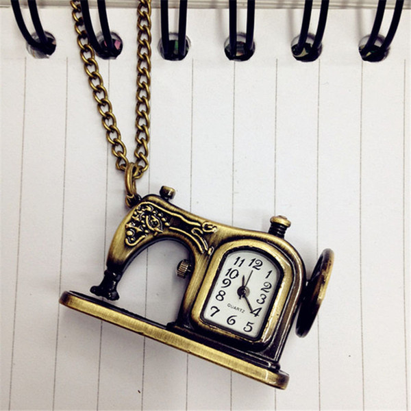 2018 New Hot Retro Antique Bronze Alloy Sewing Machines Pendant Pocket Watch Christmas Gift For Women Free Shipping