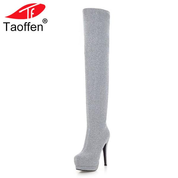 TAOFFEN Taille 32-43 Nouvelle Mode Femmes Sur Le Genou Bottes Haut Plate-Forme Mince À Talons Hauts Chaussures D'hiver Femme Giltter Long Bottes