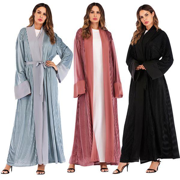 Winter Velvet Abaya Kaftan Dubai Arabic Islam Kimono Cardigan Muslim Hijab Dress Abayas For Women Robe Turkish Islamic Clothing