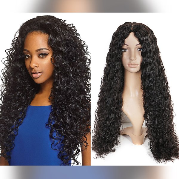 100% unprocessed smooth virgin human hair beauty natural color aaaaaa water wave long full lace top wig for sale