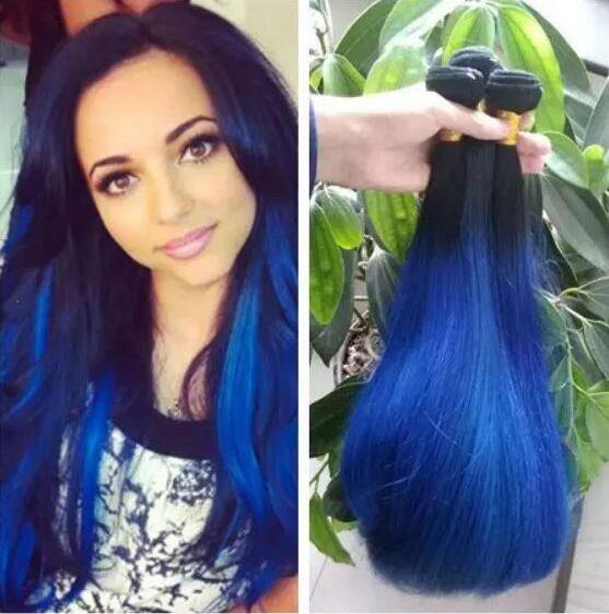 1B Blue Ombre Straight Brazilian Virgin Hair Weave Silk Straight Ombre Blue Hair Extensions Two Tone Color 3 Bundles Lot