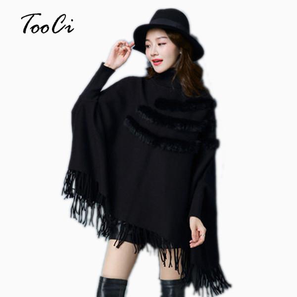 New Fashion Autunno E Inverno Donna Matrimonio Reale Rabbit Fur Cloak Pullover Lady collo alto Bat Maniche Nappa Poncho Maglione