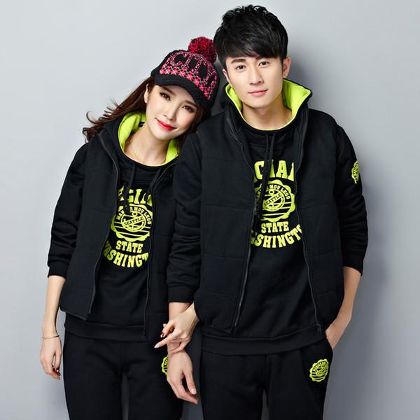 Men Women Tracksuit Sportswear Male Lover Fleece Sweater Hoodies+pants+vest Running Jogging Leisure Set Thick Sport Warm Suit