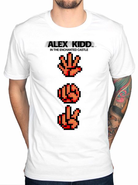 Official Alex Kidd Paper Rock Scissors NEW T-shirt Sega Video Game Console Kids Funny free shipping Unisex Casual Tshirt gift