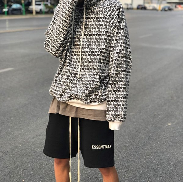 Hot Sale Mens Shorts Summer Relaxed High Street Loose Knee Length Pants Letter Printed Terry Cotton Shorts Hip Hop Clothing for Male