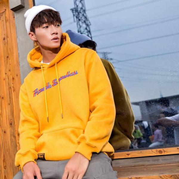2018 sonbahar moda Avrupa ve Amerikan mektubu baskı erkek gevşek fırçalanmış kapşonlu kazak kazak