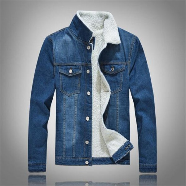 2018 new winter blue lamb jeans cowboy jacket Korean version of body warmer jacket plus thick coat