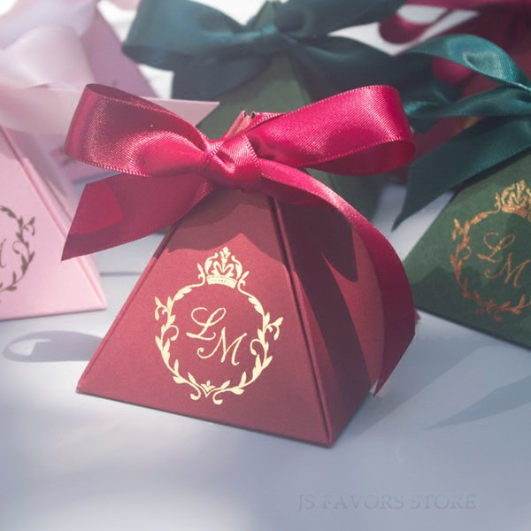 Free shipping100pcs custom logo tie a knot ribbon Wedding reception Baby Shower Birthday Guests Favors Candy Boxes