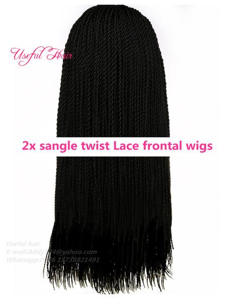 22inch black 2x sangle twist lace wig