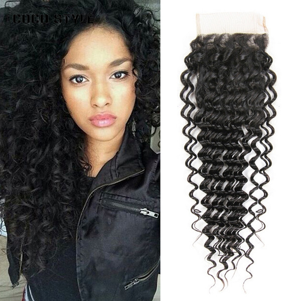 Brazilian Deep Wave Lace Closure 4*4 Free Part Human Hair Closure 120% Destiny Swiss Lace Remy Hair Closure