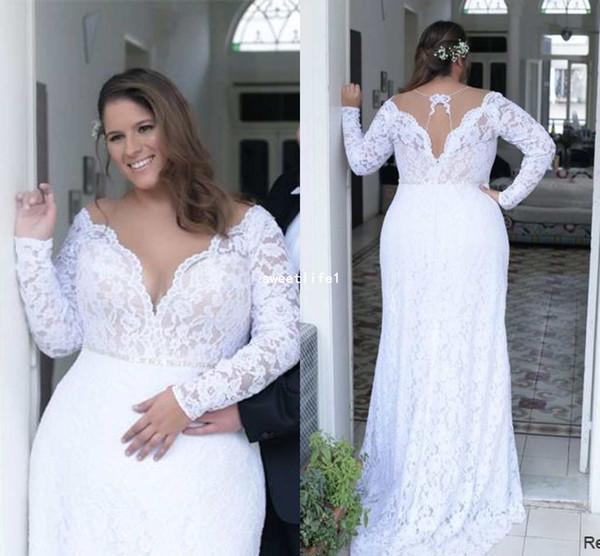 Vestidos Para Casamento No Civil 2019 Plus Size Sheer Jewel Pescoço Vestidos De Casamento Com Sereia De Manga Comprida Cheia De Renda Trem Tribunal