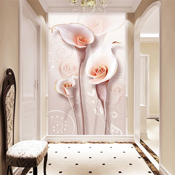Custom 3D Photo Wallpaper Relief Stereoscopic Lily Flower Living Room Entrance Wall Decoration Painting Mural Wallpaper Modern