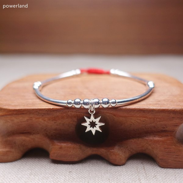 Natural 925 Sterling Silver Bracelet For Women Charm Bangle Wax String Fashion Friendship Gift Handmade Jewelry