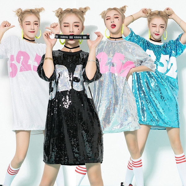 Jazz Hip Hop Costumes Cheerleading Street Dancing Basketball Loose Large Sequined Dress Nightclub DJ Singer Stage Clothes DN2077