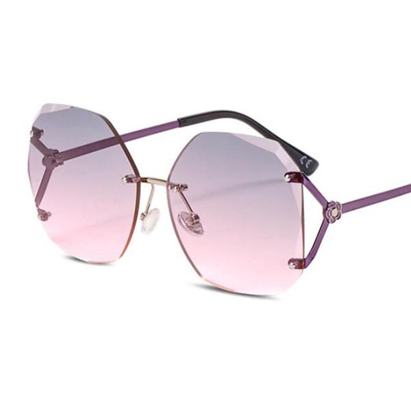 2019 New Oversized Square Rimless Sunglasses Women Brand Designer Gradient Crystal Lens Sun Glasses Men Oculos De Sol Feminino