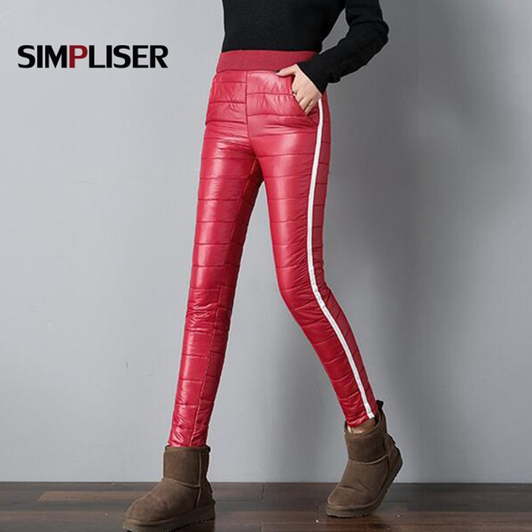 Mulheres Calças de Inverno Para Baixo de Algodão Calças Compridas Feminino Elástico Na Cintura Plus Size Leggings Senhoras Calças Lápis Stretch 2018 Femme Pant