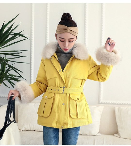 Women Fluffy Faux Fur Collar Parkas Winter Jackets Casual Parkas Cotton Coats With Belt Overcoat Wadded Jackets
