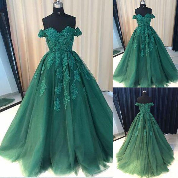 Neue Ankunfts-A-Line-Abschlussball-Kleider weg von den Schulter-Grün-Spitze-Applikations-Abschlussball-Kleidern, formales Frauen-Kleid