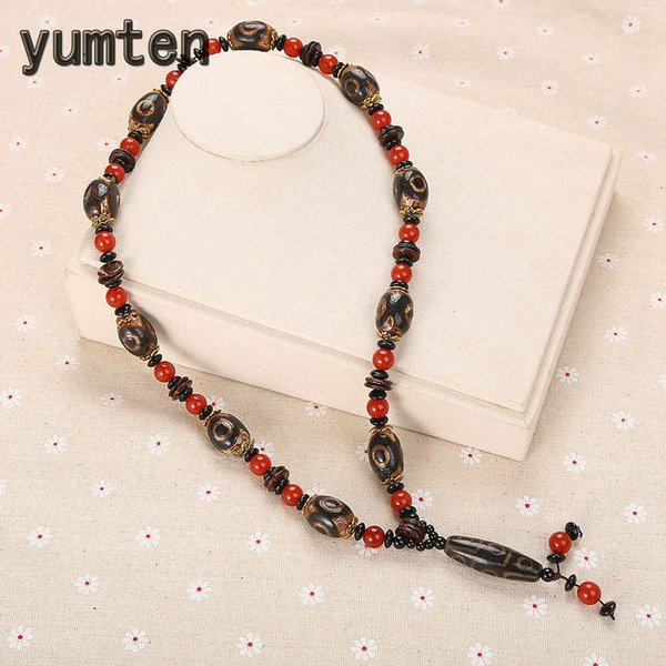 Yumten Vintage Women Necklaces Agate Chains Femme Wedding Jewellery Round Rope Chain Simple Men Accessories Multilayer Spacer
