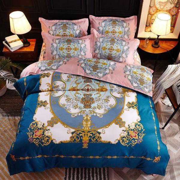 Hochwertige Heimtextilien Herbst dunkle Farbe Blume Serie Bettwäsche 4pcs Bettwäsche-Sets Bett Set Bettbezug Bettlaken Mans Cover Set