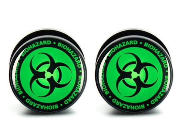 Comercio al por mayor 10 tamaños 60 unids verde Biohazard acrílico medidores de enchufe de oreja tornillo cuerpo de la carne joyería del cuerpo