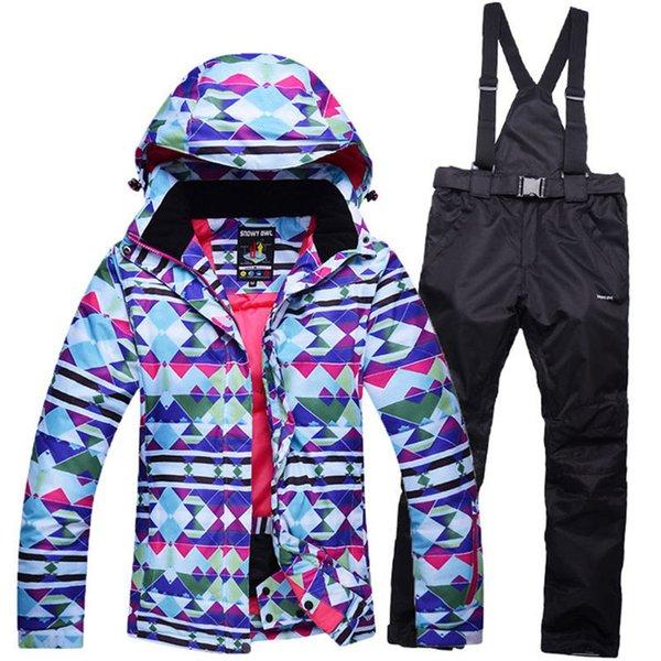 colorful Woman Blue Snow Jackets Ladies Ski suit sets Female Snowboarding clothing outdoor sports Costumes Jacket + Bibs pant