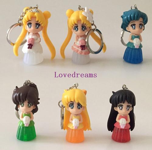 6pcs/set Janpanese Anime Sailor Moon figure PVC Doll Figure Phone Keychain pendant Gifts