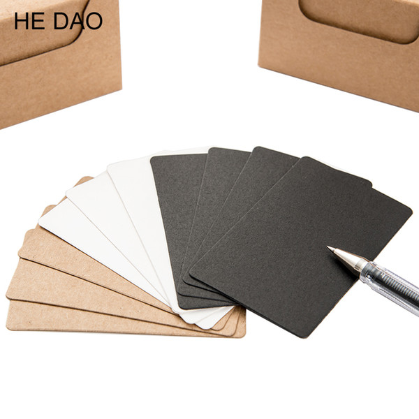 100 Pcs/box Brief Design Black White Kraft Paper Memo Pad Notebook Business Paper Cards Word Cards Stationery Stickers