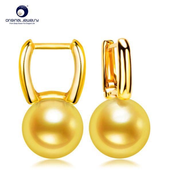 [YS] Square Design Drop Earring 7.5-8mm Genuine Japanese Akoya Pearl Earrings 18k Gold Y1892905