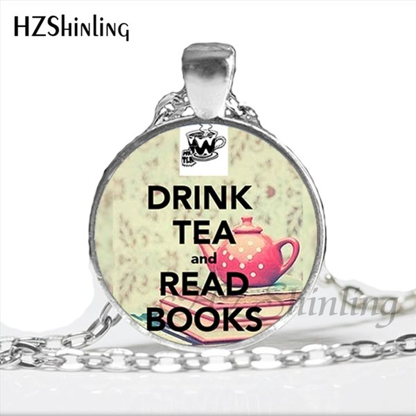 NS-00773 New Design Drink Tea And Read Books Necklace Handmade Book of Tea Necklace Glass Photo Cabochon Jewelry