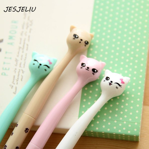0.5mm Cute Kawaii Plastic Ink Gel Pen Cartoon Cat Pens For School Writing Office Supplies Korean Stationery