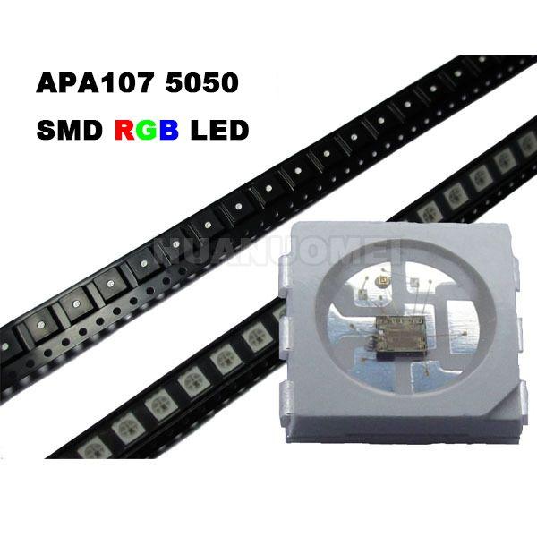 APA107 LED Chip 5050 SMD RGB APA102 Chip Addressable;6pins SMD 5050 built-in APA107 IC(APA102 update);DC5V input,0.3W,60mA;SOP-6;1000pcs/bag