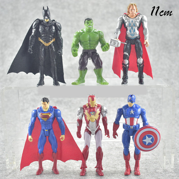 6 unids / set 10 cm The Avengers figuras de acción de PVC Set Cartoon Doll Super Heros Iron Man Ultron Wolverine figura modelo de juguetes móviles AAA461
