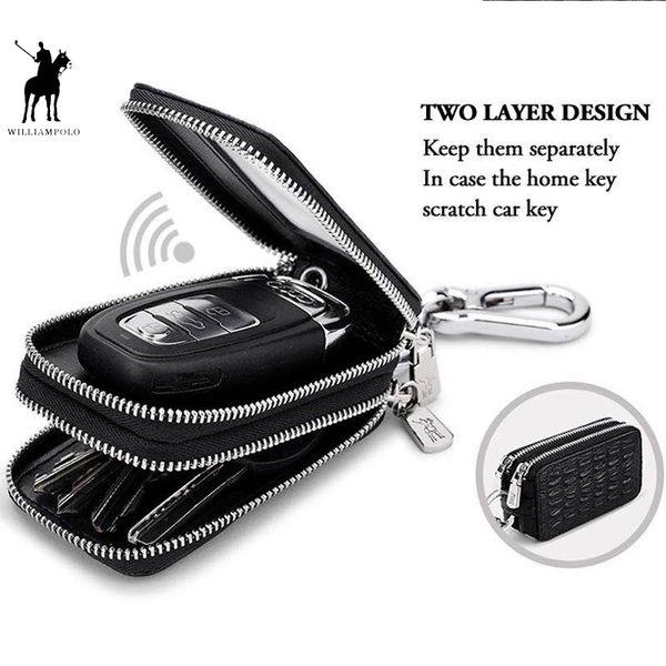Car Key Holder Key Case Genuine Leather Crocodile Pattern Design Fashion Unisex Double Zipper Keys Bag With Rings POLO281