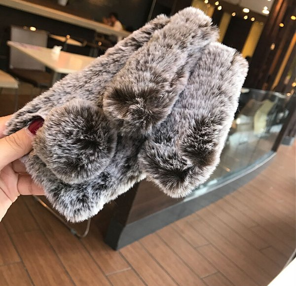 Lovely Soft 3D Rabbit Ears Plush Fur Furry Phone Cases For iphone X /8/7/6 Cute Soft TPU Fluffy Hair Back Cover
